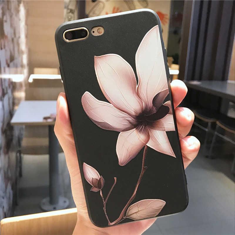 الأزياء اللوتس زهرة حقيبة لهاتف أي فون 8 زائد XS ماكس XR 3D الإغاثة روز الزهور الهاتف حقيبة لهاتف أي فون X 7 6 6 S زائد 5 SE غطاء من البولي يوريثان الحراري