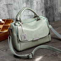2019 Vintage Boston Genuine Leather Luxury Handbags Designer Shoulder Bag Female Rivet Women Messenger Bags Tote Sac A Main