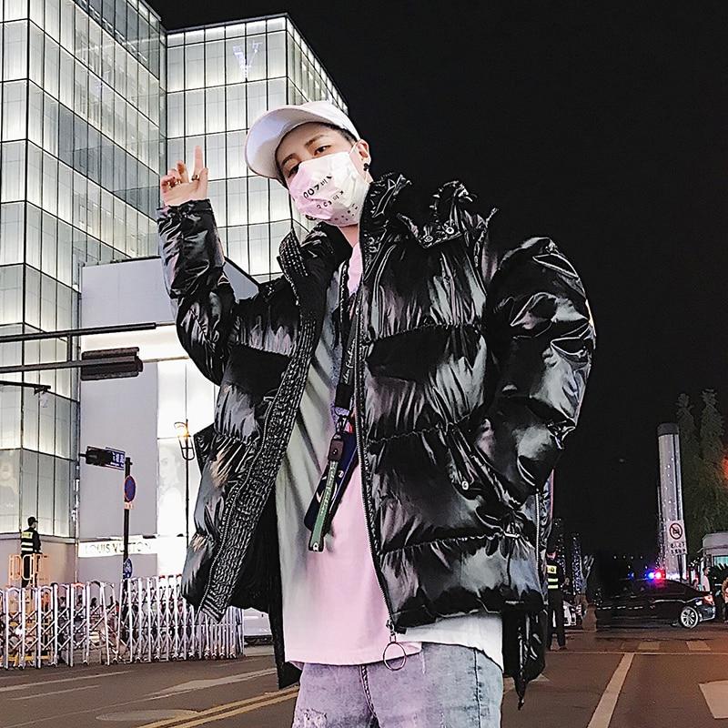 Winter Thicken Black Silver Warm Fashion Casual Hooded   Parkas   Coat Streetwear Hip Hop Loose Cotton Coat Jacket M-XL