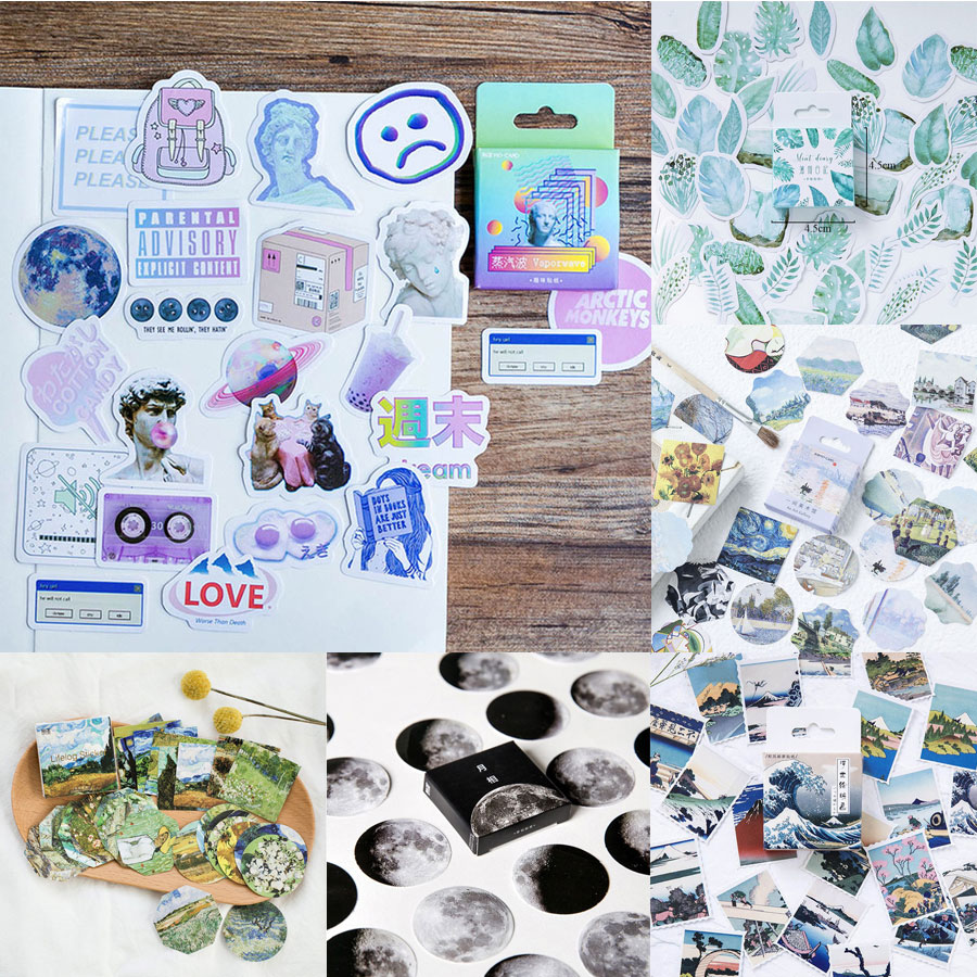 45pcs/box Van Gogh Travel Stickers Famous People Stickers Green Plant Planet Stickers Decorations Scrapbooking Diary Diy Albums