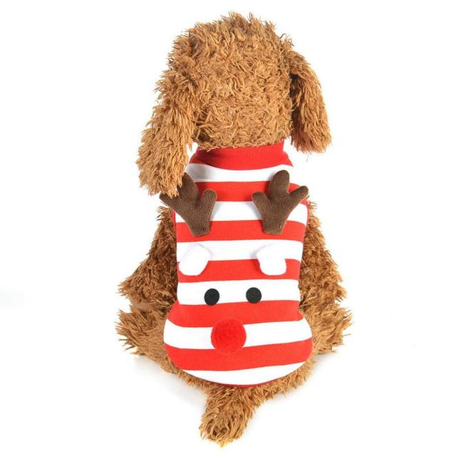 Dog Red Comfortable Cute Pet Christmas Coat Small Clothes Patchwork Soft 1