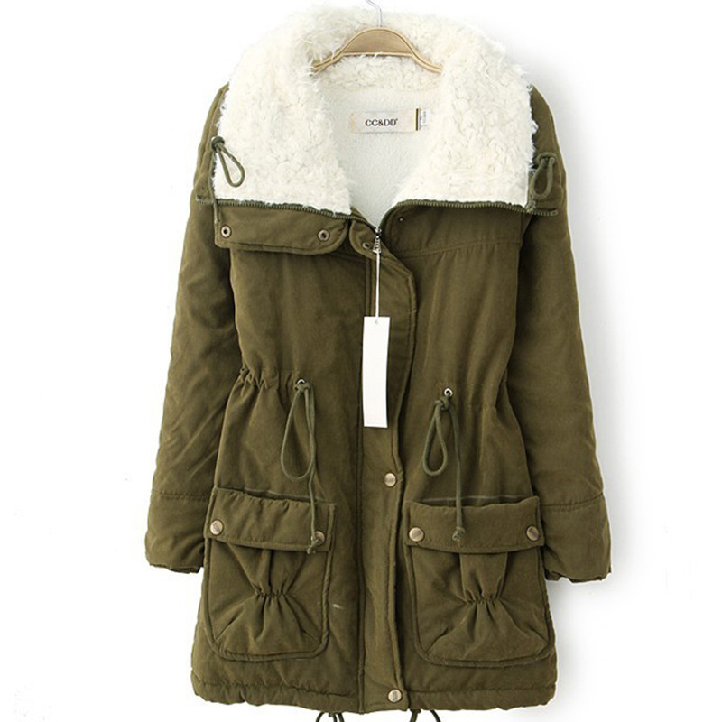 Winter Women jacket Thick Warm short plush fur Collar Women Jacket Coat Fashion Causal autumn cotton Innrech Market.com