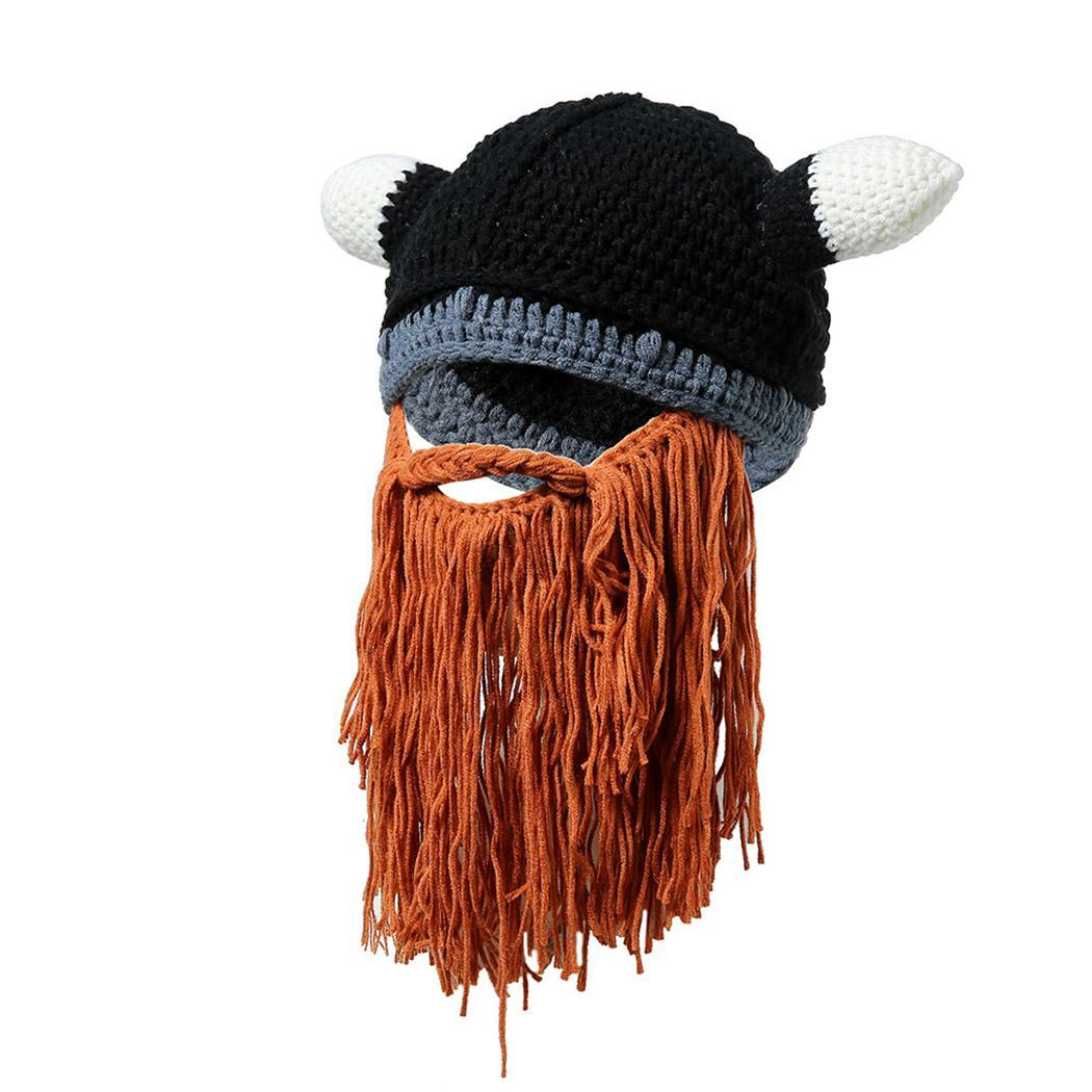 Men Bearded Horn Shape Autumn Winter Tassel Hat Hand wash only. Patchwork Hats Warm Hats Knitted Hat