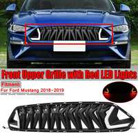 High Quality Car Front Grille Grill With White/Red LED Lights For Ford For Mustang 2018 2019 Grill For Mustang For Armor Style