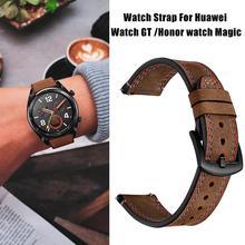 22 MM de Substituição Inteligente Relógio Esportivo Com Pulseira De Relógio de Couro Crazy Horse Linha Dupla Relógio de Pulseira Para Huawei Honor Magia