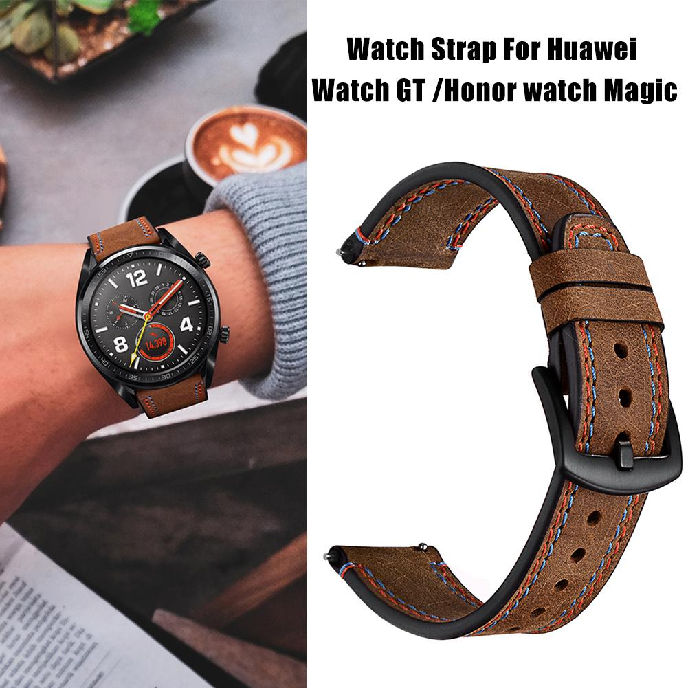 22MM Smart Replacement Sports Watch With Leather Watch Strap Crazy Horse Double Line Wristband For Huawei Watch Honor Magic-in Smart Accessories from Consumer Electronics