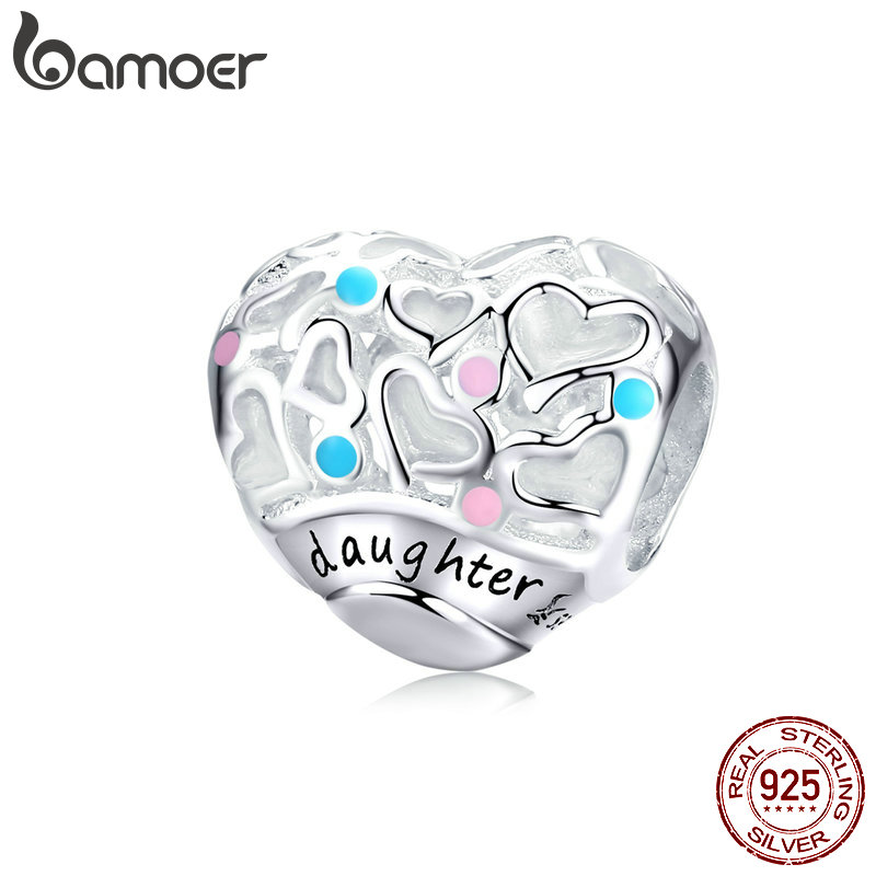 BAMOER Heart Beads for Women Jewelry Making Daughter Love of Family Charms fit 3mm Sterling Silver Bracelet Fine Jewelry SCC1152BAMOER Heart Beads for Women Jewelry Making Daughter Love of Family Charms fit 3mm Sterling Silver Bracelet Fine Jewelry SCC1152