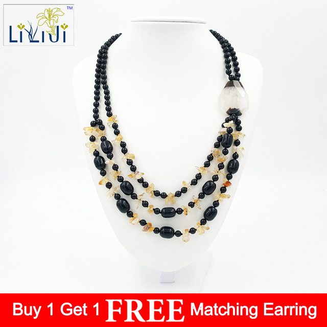 b5b5298a0f0f69 Natural Stone Citrine, Black Agate,Crystal Agate 3strands Handmade Knitting  Necklace Fashion Women Jewelry