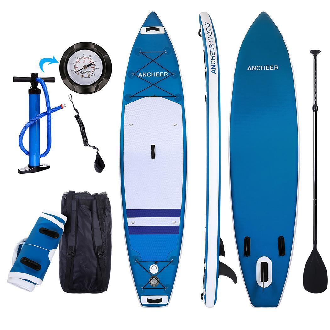 Double-couche Planche de Surf Tout usage Réglable Stand Up Paddle Gonflable 1000D Brossé Planche De Surf Paddle Board 330x80x18 cm