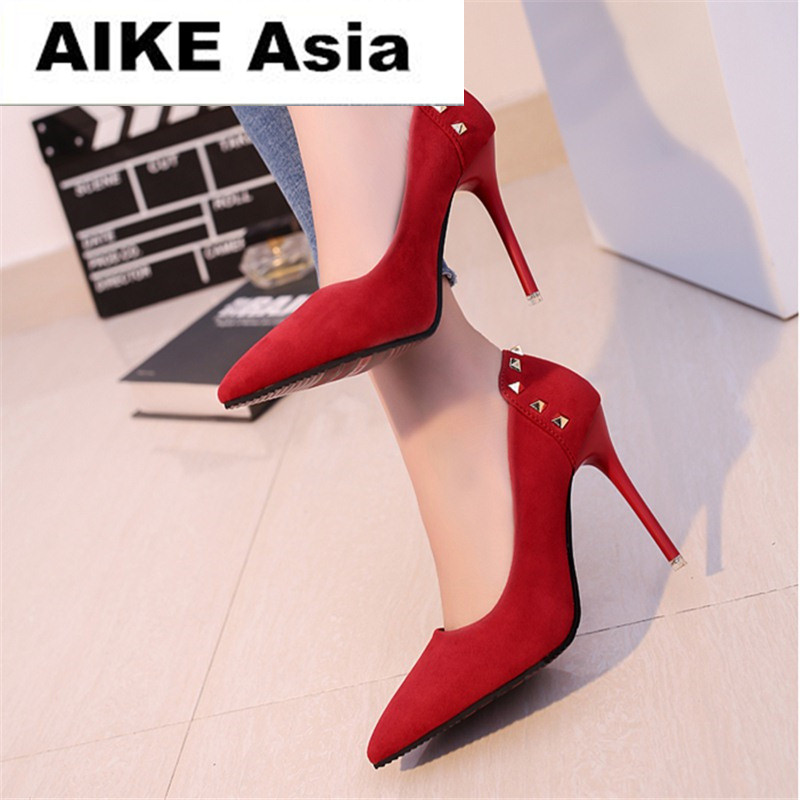 2019 Women Shoes Pointed Toe Pumps Suede Leisure Dress Shoes High Heels Boat Wedding Tenis Feminino Rivet 10cm