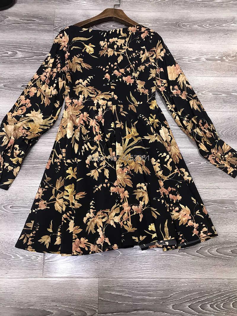 1f8a7eb92ab9a High-end Silk Unbridled Basque Mini Dress - Black 2018 Floral Print Bias  Cut Mini Dress With Empire Waist Line & Blouson Sleeves