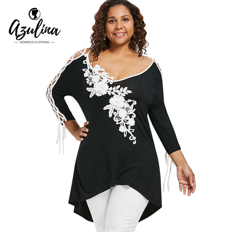 AZULINA Plus Size Appliqued Lace Up High Low Hem T-shirt Women Flowers V  Neck 6973687ad