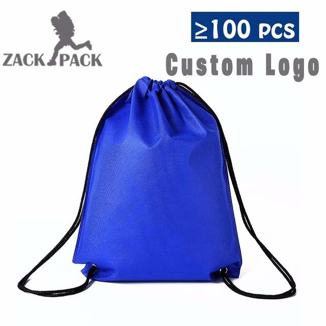 7db23206e2d4 zackpack Blue custom logo Sports Waterproof Drawstring Bags Pouch Backpack  Pull Rope Small Canvas Gym Sack Mochila Knapsack DB22