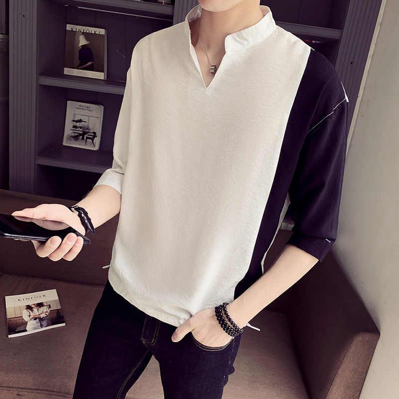 Мода 2019 рубашка с коротким рукавом Мужская Уличная контрастная цветная 2XL M