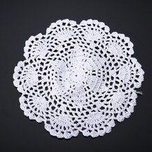 3pcs/set Round Cotton Coasters Applique White 20cm Hand Crochet Floral Doilies for Craft DIY Wedding Christmas Table Decoration