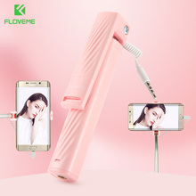 FLOVEME 3.5MM Selfie Stick For Samsung Portable iPhone 6 5 Wired Monopod Huawei Xiaomi