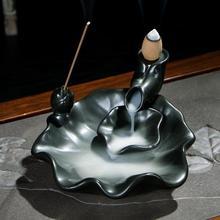 Lotus Leaf Incense Burner Smoke Waterfall Backflow Holder Ceramic Censer Mountain River Handicraf Creative Home Decor