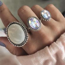 Купить с кэшбэком ProYearn Bohemia Opal Rings Set Big Rings for Women Boho Stackable Knuckle Rings Womens Jewellery Accessories