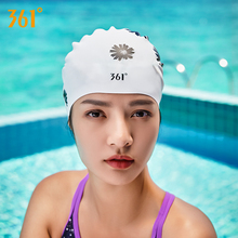 361 Long Hair Swimming Cap for Women Floral Silicon Pool Waterproof Ear Protection Female Rubber Swim Hat