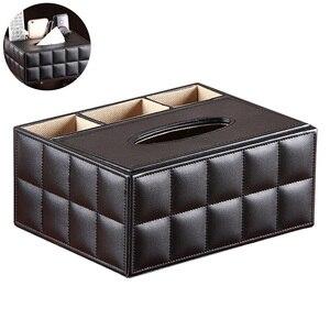 Image 1 - Многофункциональный настольный органайзер, держатель для пульта дистанционного управления, контейнер для карандашей, коробка для хранения салфеток из искусственной кожи