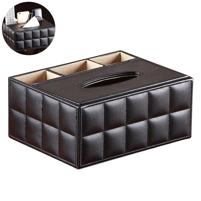 Многофункциональный настольный органайзер, держатель для пульта дистанционного управления, контейнер для карандашей, коробка для хранения салфеток из искусственной кожи