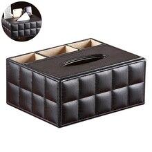 Multifunctionele Desktop Organisator Afstandsbediening Houder Potlood Schaar Container Pu Lederen Tissue Box Organizer Box