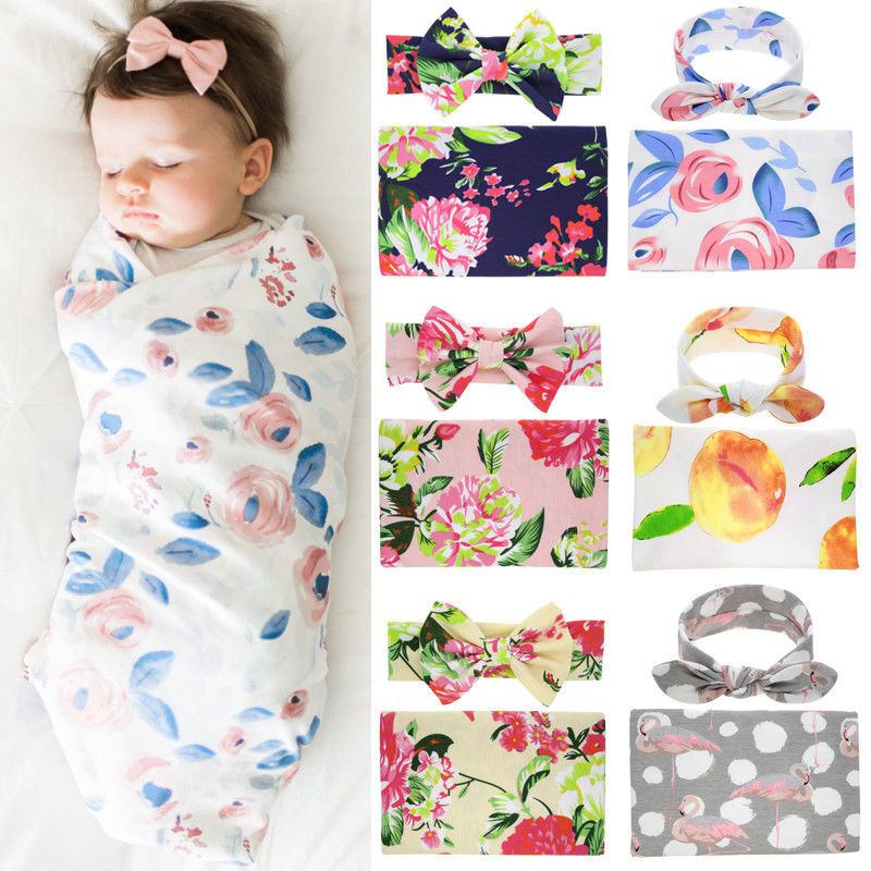 2019 New Flamingo Print 2pcs Fashion Toddler Newborn Girls Blanket Towels Wrap Knot Headwear Hair Accessories Photography Props