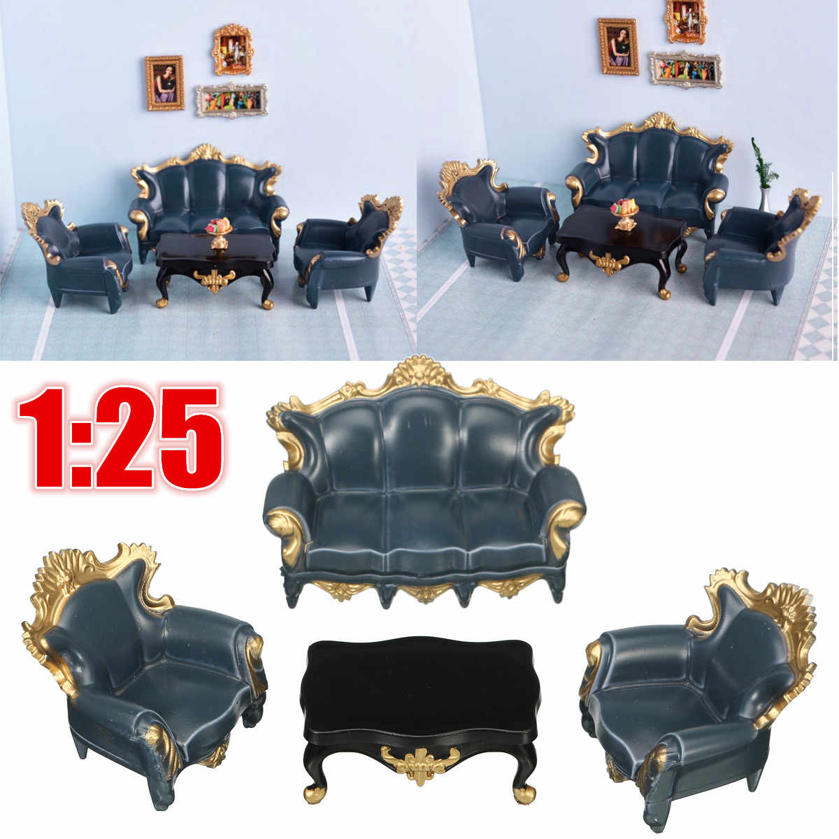 4Pcs 1:25 Scale Dollhouse Blue Sofa Table Toy Set Dollhouse Family Furniture Kids Home Miniature Furniture Children Gift Toys