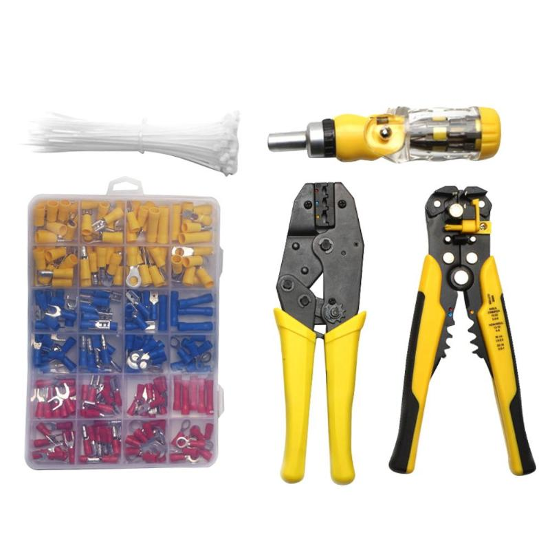 5pcs set Cable Wire Stripper Cutter Crimper Automatic Multi functional Terminal Crimping Stripping Pliers auto repairing