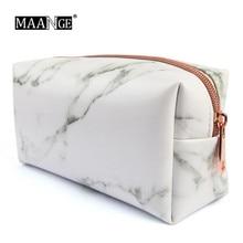 1Pc Womens Fashion Beauty Travel Marble Cosmetic Bag Rose Gold Zipper PU Girls Multifunction Makeup Brush