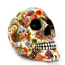 Dropshipping New Creative Skull Resin Statues Color Flower Desk Decor Toy Birthday Gift Halloween Party Decoration