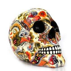 Dropshipping novo crânio criativo resina estátuas cor flor decoração de mesa brinquedo presente aniversário festa de halloween decoração