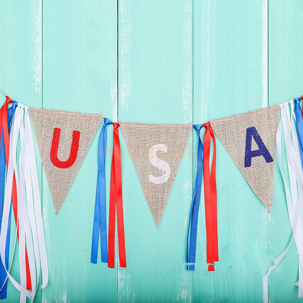 Rustic Burlap USA Flag Pennant Tassel Bunting Banner 4th of July Day Decor