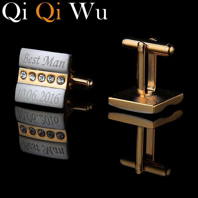 QiQiWu Gold Personalized Cufflinks Engraved Customized Cuff Links Jewelry Wedding Gifts For Men Guests Man Acc With Gift Box