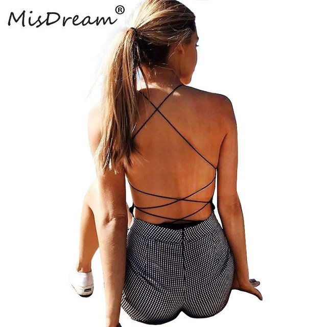MisDream Sexy Lace Up Black Bodysuit Women New Sleeveless Bandage Jumpsuits Bodycon Backless Summer Romper Body Suit Overalls
