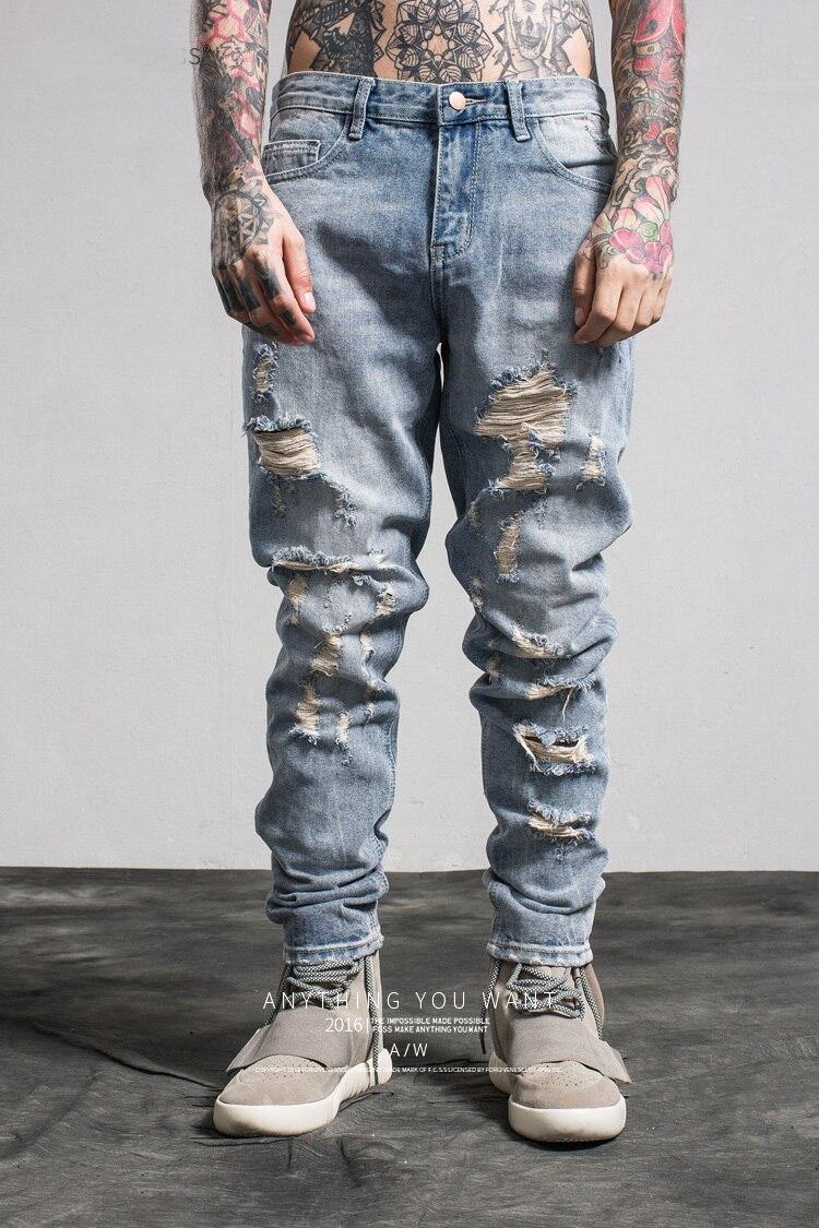 Pantalones Vaqueros De Mezclilla Para Hombre Pantalones Vaqueros Rasgados Ajustados De Marca Rotos Con Agujeros S Xl Pantalones Vaqueros Aliexpress