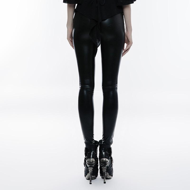 Punk Rave femmes gothique fleur Crochet Faux cuir Leggings K-309 - 3