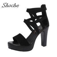 Shoche Peep Toe Sandals High Block Heel Platform Shoes Women Fashion Party Shoe Femme Summer Extrem High Sandals Big Size 42