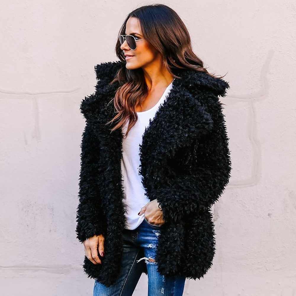 女性の冬プラスサイズのフェイクファーのコートボンバージャケットトレンチウールテディコートピンクオーバー長袖ヴィンテージ生き抜く Mujer