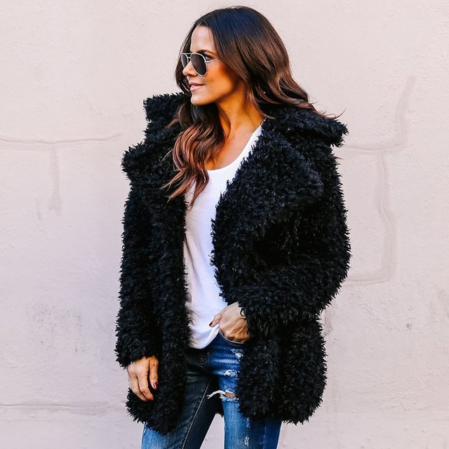 Women Winter Plus Size Faux Fur Coat Bomber Jacket Trench Wool Teddy Coat Pink Overcoat Long Sleeve Vintage Outwear Mujer
