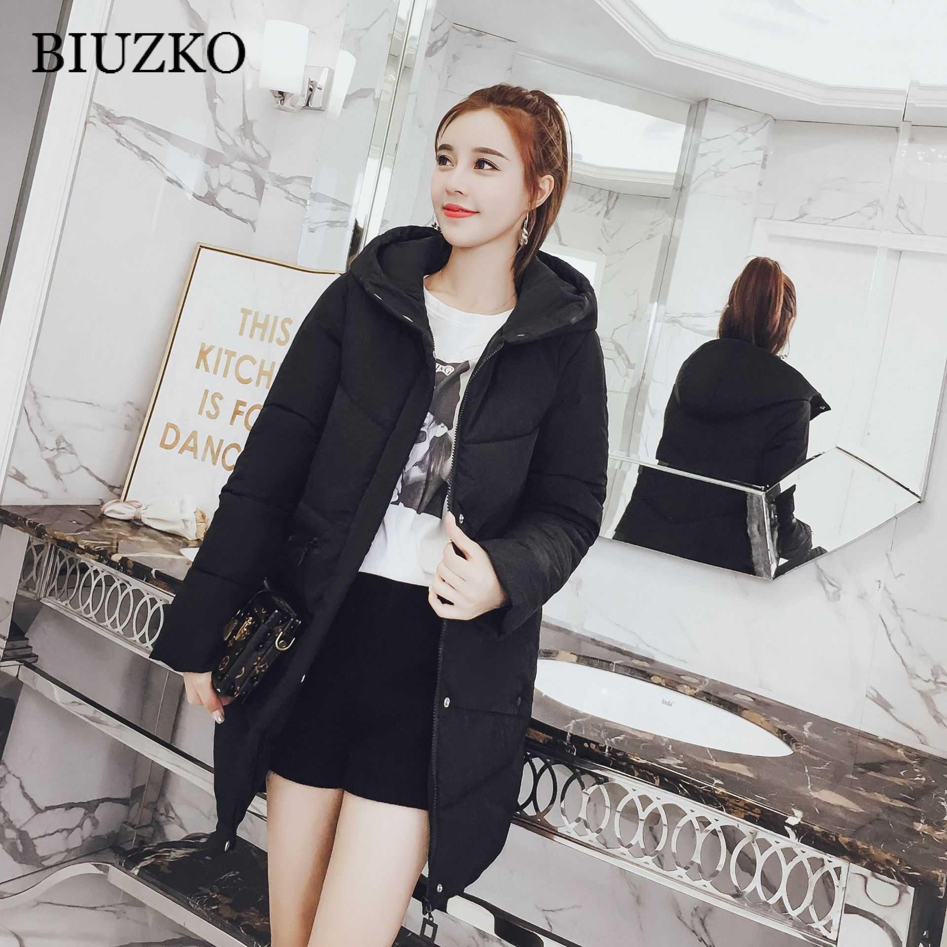 Модные теплые женские зимние пальто и куртки однотонные длинные с широкой талией хлопковые стеганые куртки с капюшоном карманы парки Mujer 2018