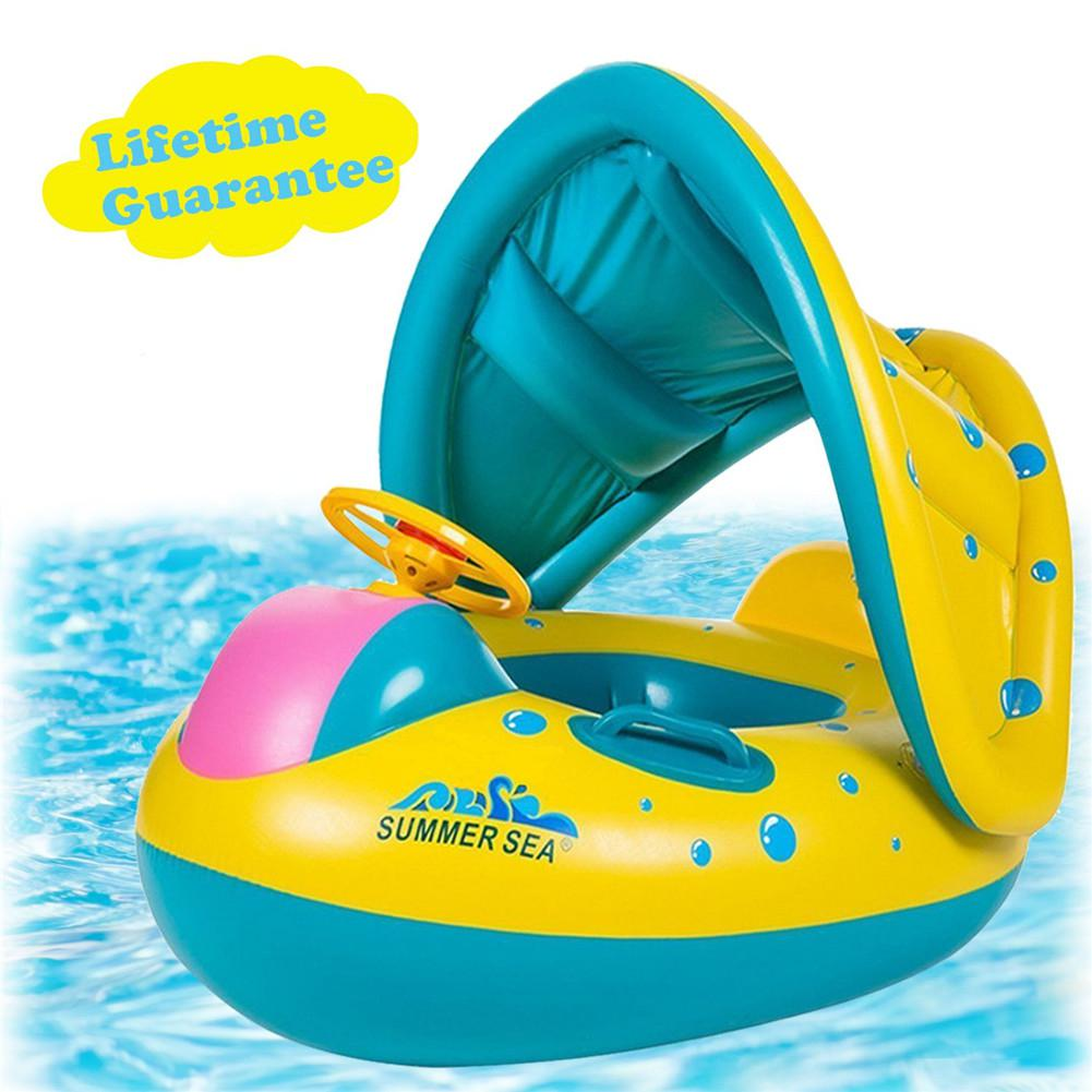 Inflatable Boat Shape Swimming Ring With Sunshade Awning For Kids Baby Infant Summer Playing Supplies Swiming Protection