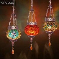 Artpad Bohemia Mediterranean Lighting Turkish Restaurant Pendant Lights 110 220V Moroccan Mosaic Lamp Home LED Bar Hanging Light