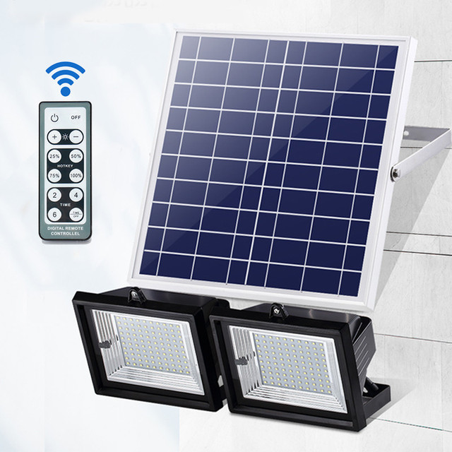 Smuxi 2Pcs Remote Control LED Solar Light 60 LED Flood Light Floodlights Dimmable Timer Waterproof Outdoor Garden Security Lamp