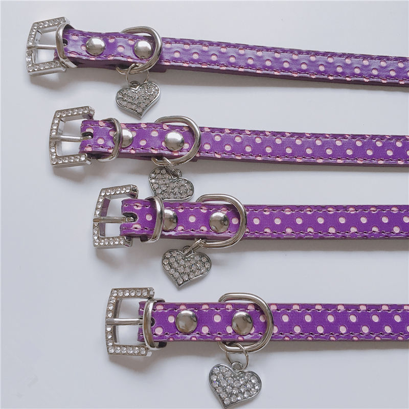 Fashion Lovely Dog Collar Spot Hanging Heart Dog Supplies for Puppy Collar and Cat PU Leather Pet Roducts Dog Accessorie 5 Color in Collars from Home Garden