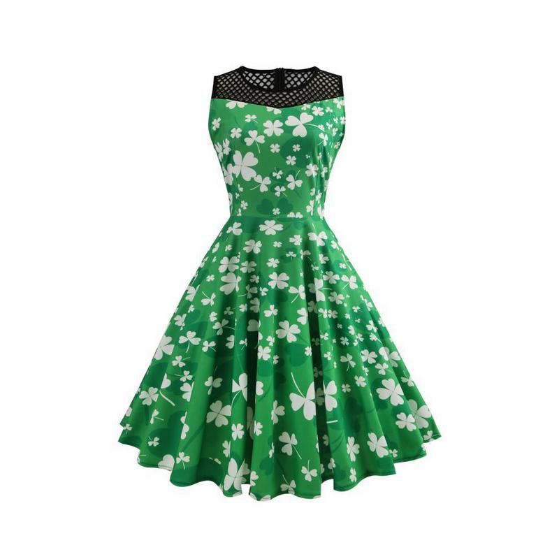 St. Patrick's Day Sleeveless Mesh Print Dress Women Hollow 2019 Clover Spring And Summer Print Party Prom Swing Dresses