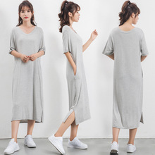 Modal comfortable and breathable bottoming dress large size women v-neck short-sleeved loose casual split summer