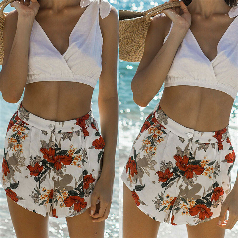 2019 Fashion Women High Waist Shorts Summer Casual Floral Beach Comfortable Sports Sexy Smartest Printed Holiday Shorts New