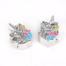 2019 New 10 Pc Silver Unicorn Spacer Clip DIY Alloy Bead Fits European Charms Silver 925 Original Bracelet For Women Girls(China)