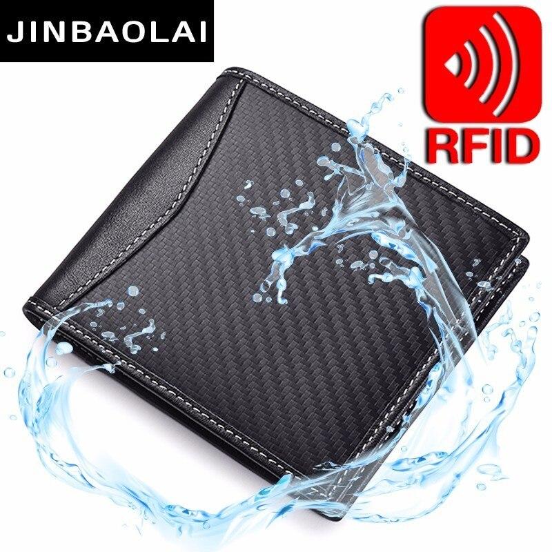 RFID Blocking Genuine Leather Wallet Carbon Fiber 3D Special Waterproof Wallet Slim Wallet Front Pocket Minimalist Bifold Wallet